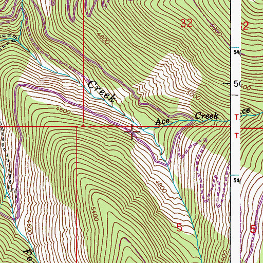 Topographic Map of Ace Creek, WA