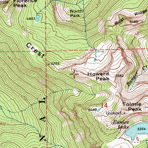 Topographic Map of Alki Crest, WA