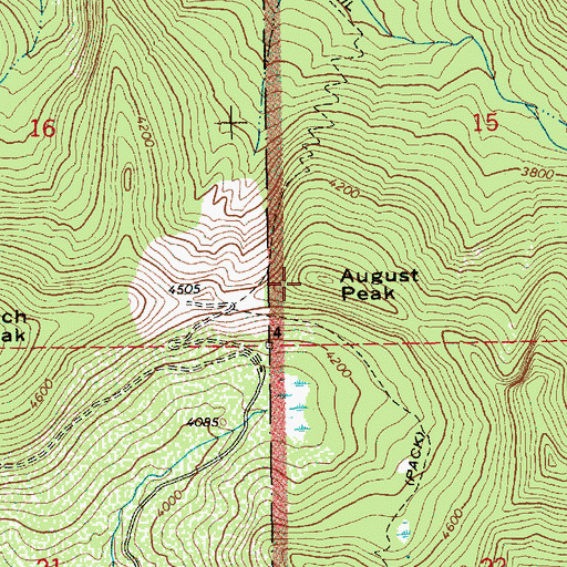 Topographic Map of August Peak, WA
