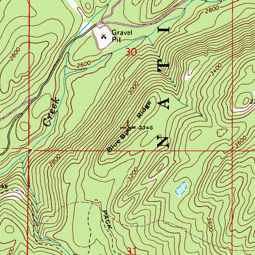 Topographic Map of Blue Bird Ridge, WA
