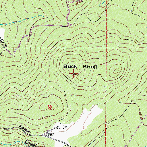 Topographic Map of Buck Knoll, WA