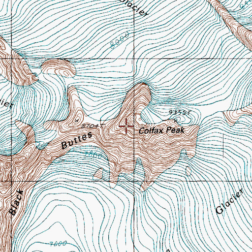 Topographic Map of Colfax Peak, WA