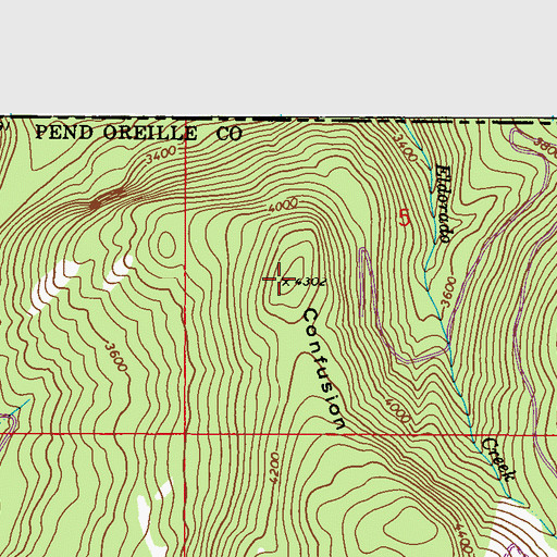 Topographic Map of Confusion Ridge, WA
