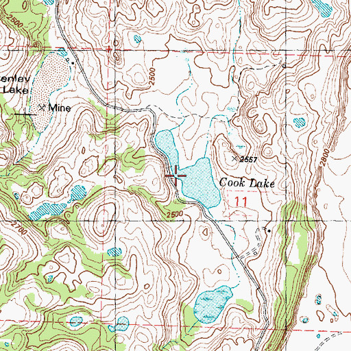 Topographic Map of Cook Lake, WA