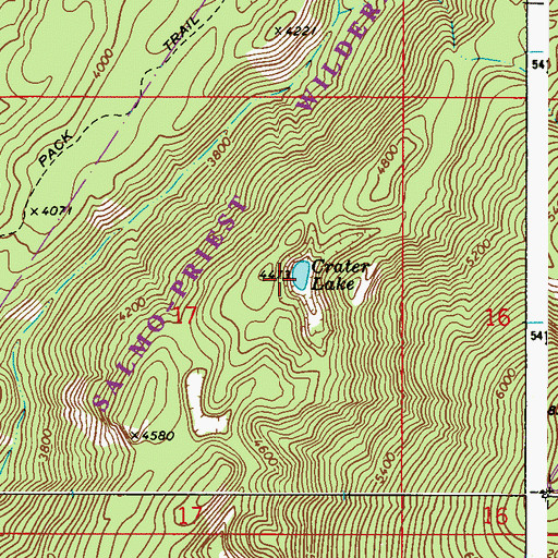 Topographic Map of Crater Lake, WA
