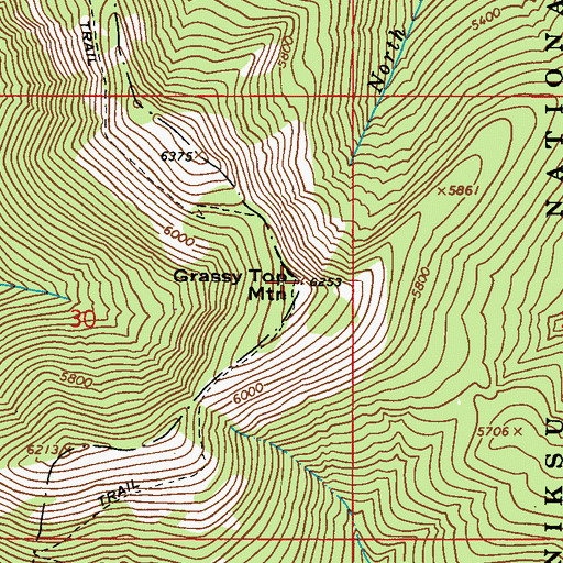 Topographic Map of Grassy Top Mountain, WA