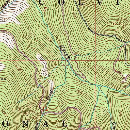 Topographic Map of Grease Creek, WA
