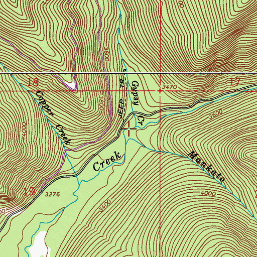 Topographic Map of Gypsy Creek, WA