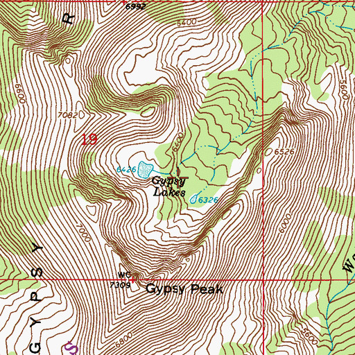 Topographic Map of Gypsy Lakes, WA