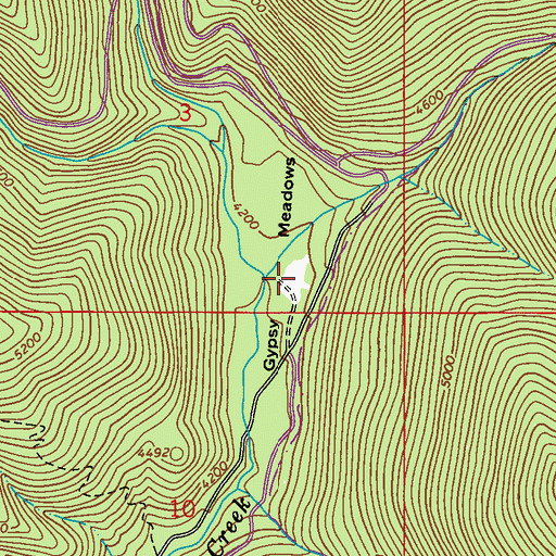 Topographic Map of Gypsy Meadows, WA