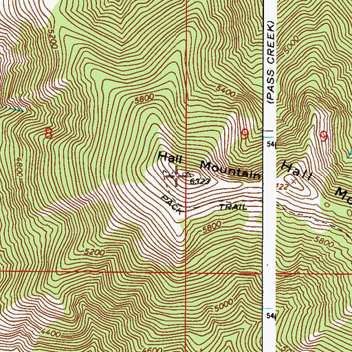 Topographic Map of Hall Mountain, WA