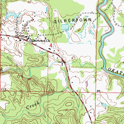 Topographic Map of Little Mill Creek, AL