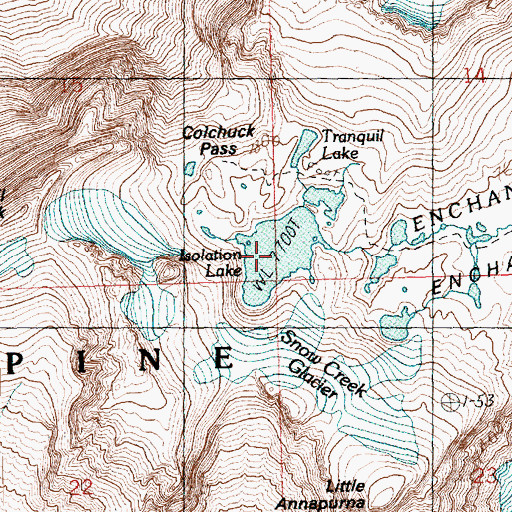 Topographic Map of Isolation Lake, WA