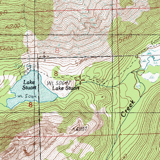 Topographic Map of Lake Stuart Trail, WA
