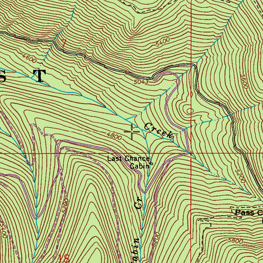 Topographic Map of Last Chance Cabin Creek, WA
