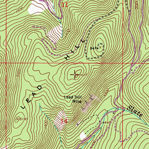Topographic Map of Lead Hill, WA