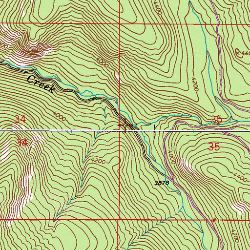 Topographic Map of Middle Fork Harvey Creek, WA