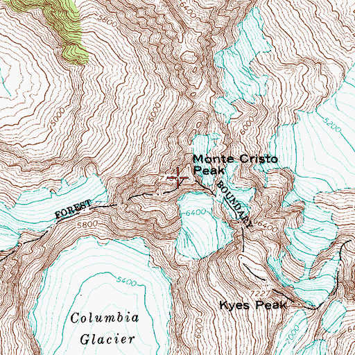 Topographic Map of Monte Cristo Peak, WA