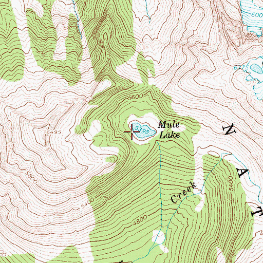 Topographic Map of Mule Lake, WA