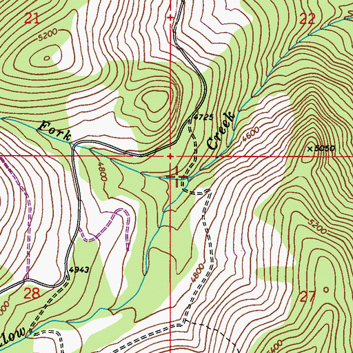 Topographic Map of North Fork Willow Creek, WA