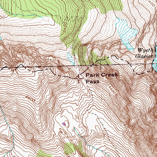 Topographic Map of Park Creek Pass, WA