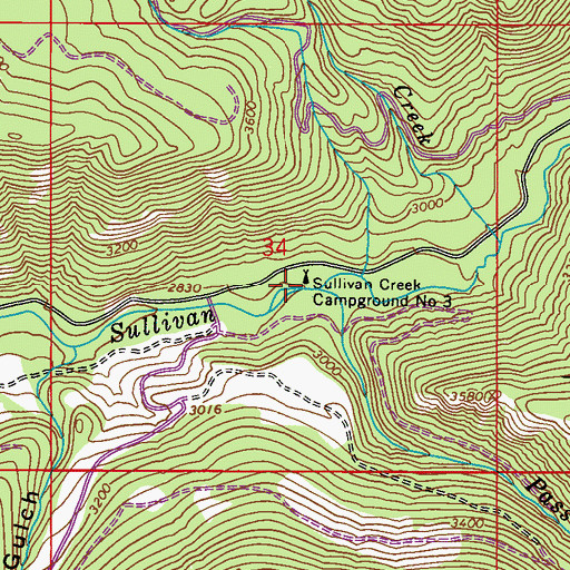 Topographic Map of Pass Creek, WA