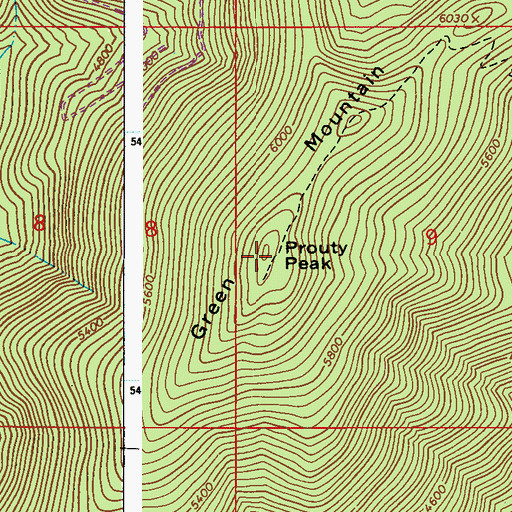 Topographic Map of Prouty Peak, WA