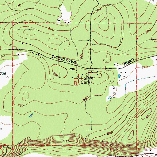 Topographic Map of Rainier Cemetery, WA