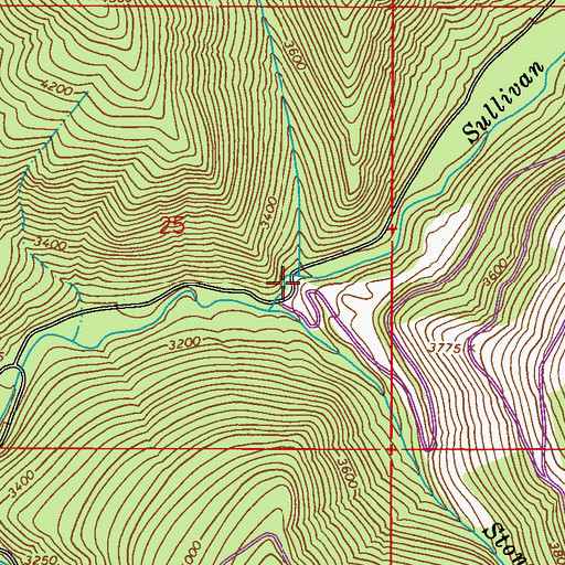 Topographic Map of Rainy Creek, WA