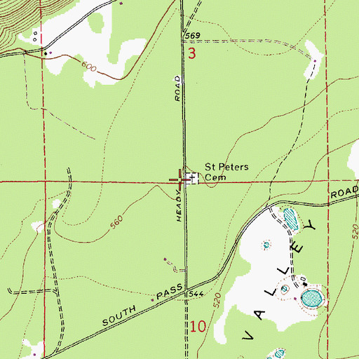 Topographic Map of Saint Peters Cemetery, WA