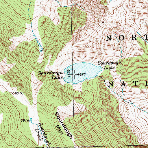 Topographic Map of Sourdough Lake, WA