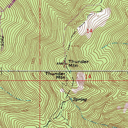 Topographic Map of Thunder Mountain, WA