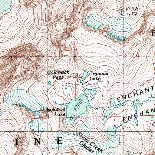 Topographic Map of Tranquil Lake, WA
