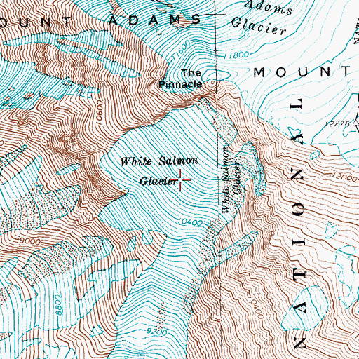 Topographic Map of White Salmon Glacier, WA
