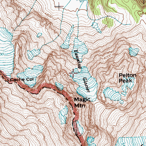Topographic Map of Yawning Glacier, WA