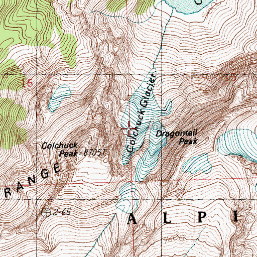 Topographic Map of Colchuck Glacier, WA