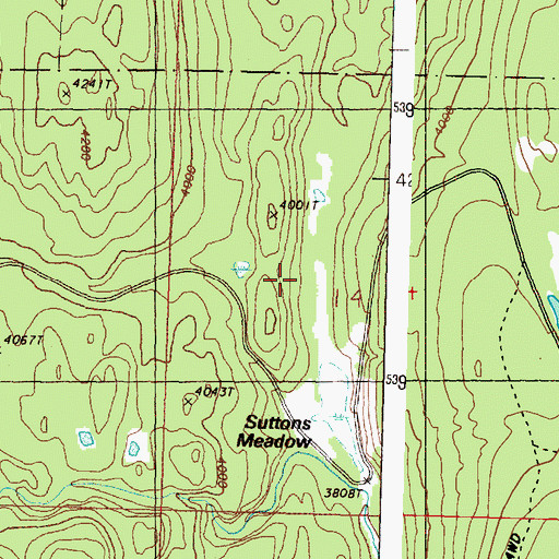 Topographic Map of Suttens Meadow, WA