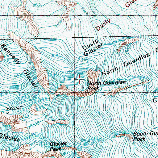 Topographic Map of North Guardian Rock, WA