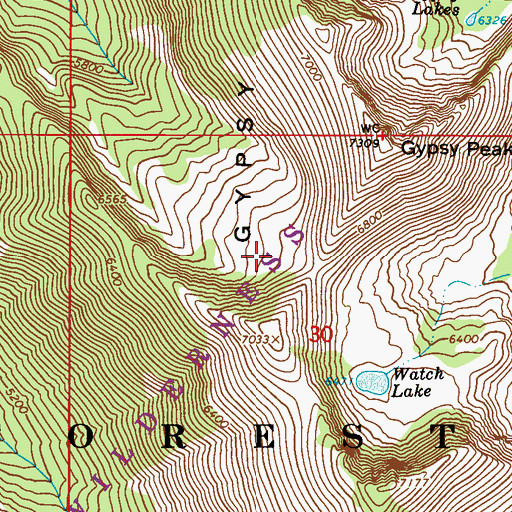 Topographic Map of Salmo-Priest Wilderness, WA