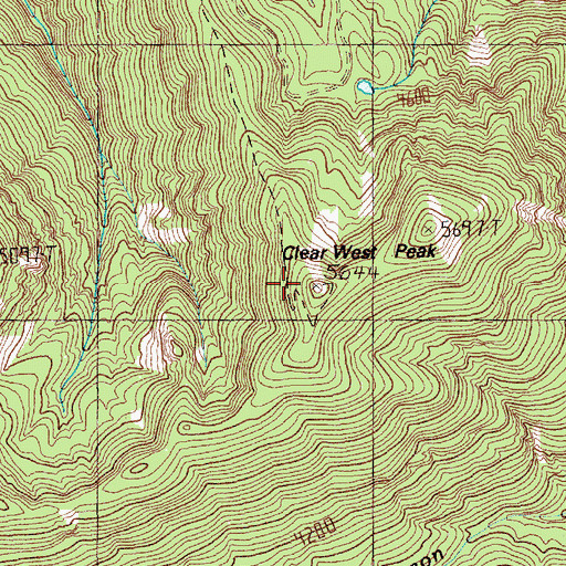 Topographic Map of Clear West Peak Lookout, WA