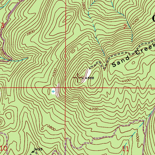 Topographic Map of Upper Sand Creek Lookout, WA
