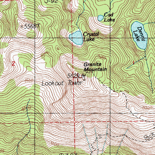 Topographic Map of Granite Mountain Lookout, WA