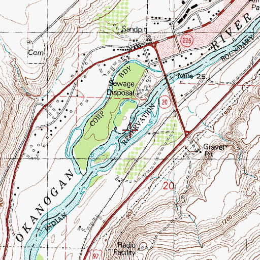 Topographic Map of Roundup Park, WA