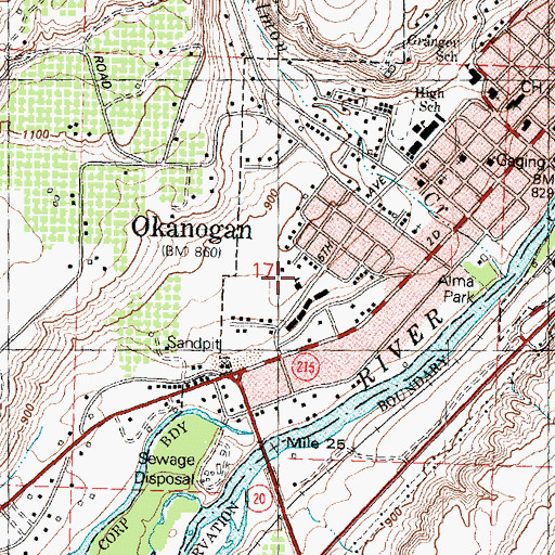 Topographic Map of O'Keefe Elementary School, WA