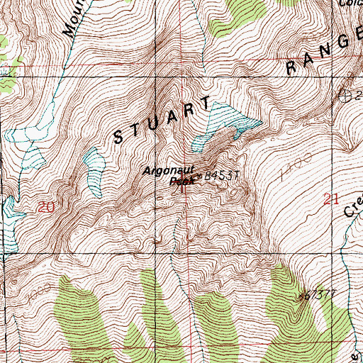 Topographic Map of Argonaut Peak, WA
