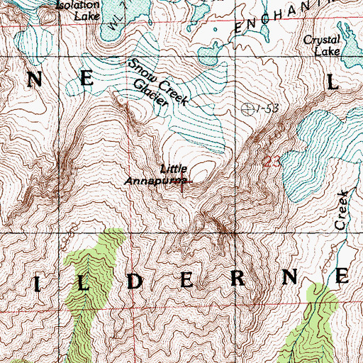 Topographic Map of Little Annapurna, WA