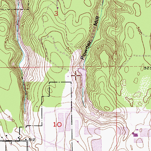 Topographic Map of Powder Mill Gulch Retention Basin, WA