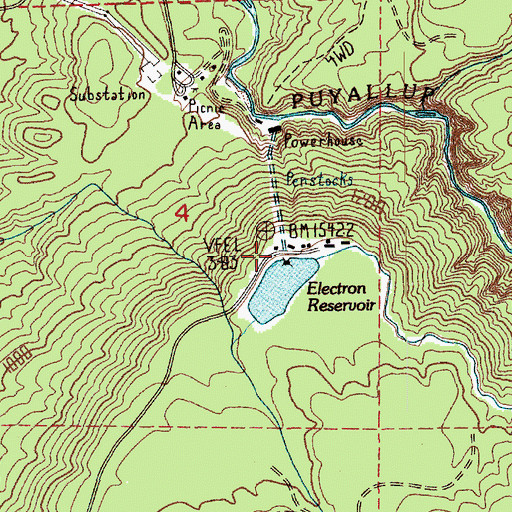 Topographic Map of Electron Reservoir Dam, WA