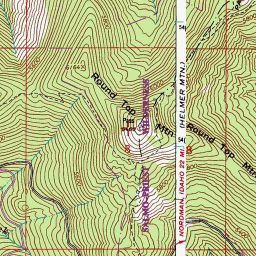 Topographic Map of Round Top Mountain, WA
