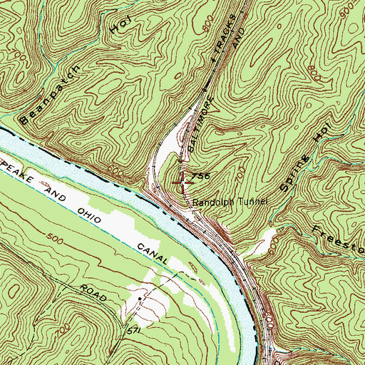 Topographic Map of Randolph Tunnel, WV